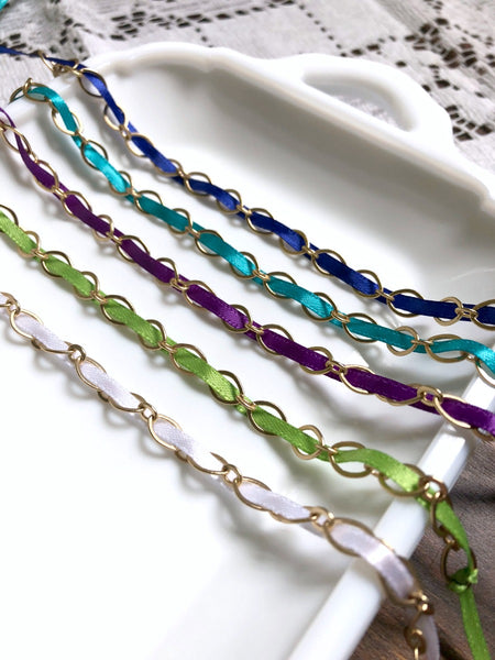 Woven Ribbon Gold Chain Dainty Layering Bracelet - Choose Your Color