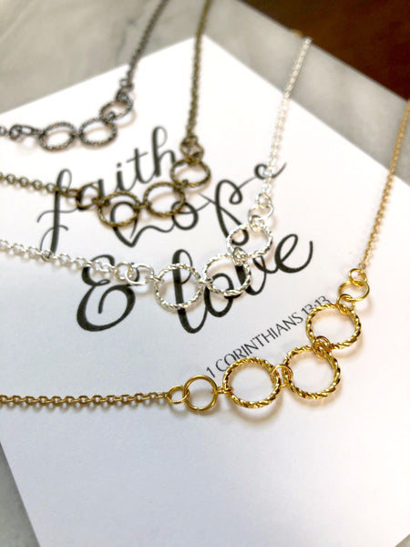 Faith, Hope, and Love Triple Hoop Necklace & Print - Choose Your Color