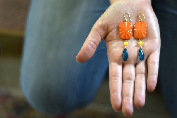Orange and Turquoise Statement Earrings