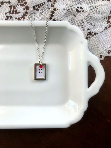 Capital Initial and Glass Birthstone Necklace