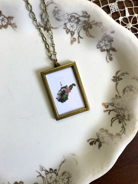 WEST VIRGINIA Rhododendrons Large Bronze Necklace