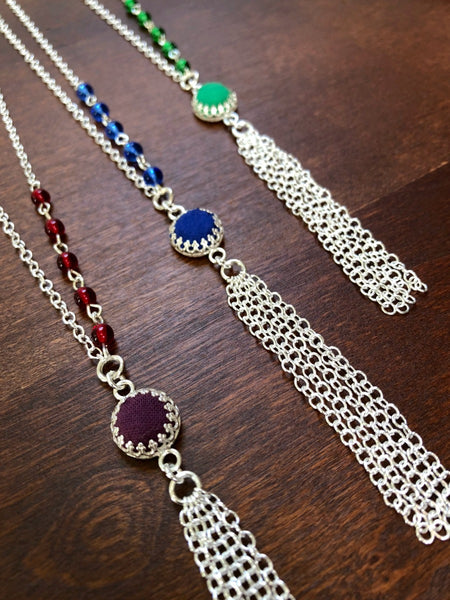 Colorful Dainty Silver Tassel Necklace - Choose Your Color