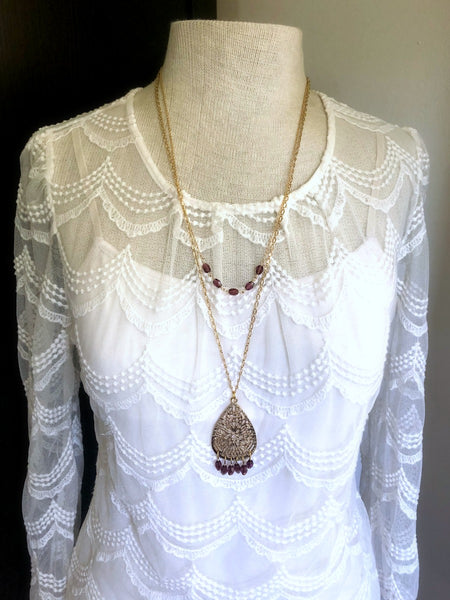 Gold and Purple Layered Chandelier Necklace