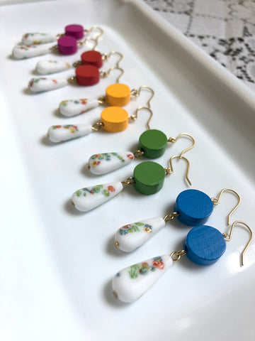 Wood and Floral Earrings - Choose Your Color