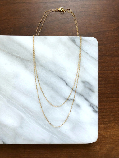 Gold Double Strand Layered Chain Customized Necklace