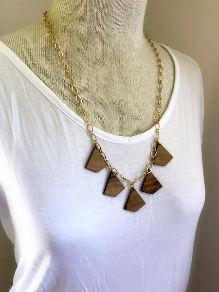 MOUNTAINS ARE CALLING Wooden Statement Necklace & Poem