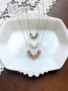Rose Gold, Silver, and Antique Gold Roses Dainty Necklace - Choose Your Color