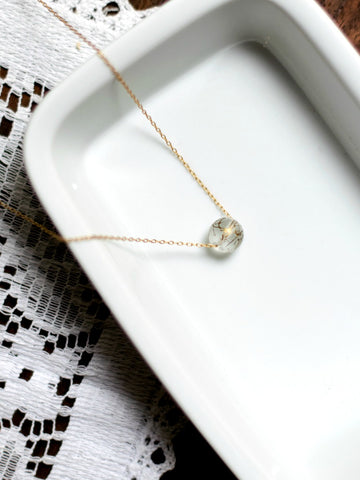 I AM WHOLE Clear and Gold Dainty Necklace
