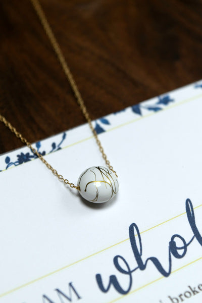 I AM WHOLE White and Gold Dainty Necklace