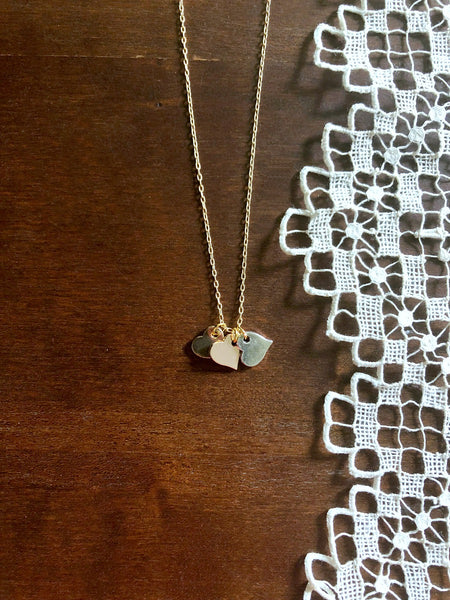 TONE Mixed Metals Hearts Necklace