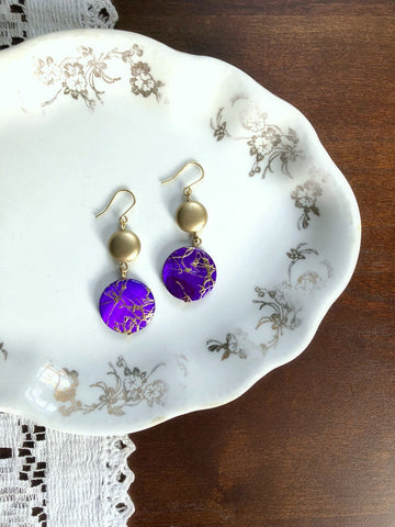 I AM WHOLE Purple and Gold Shell Earrings