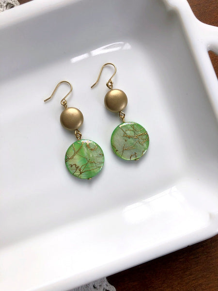 I AM WHOLE Light Green and Gold Shell Earrings