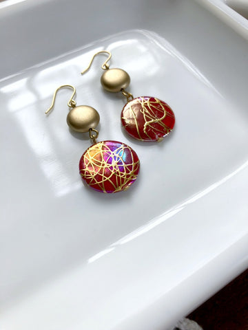 I AM WHOLE Red and Gold Shell Earrings