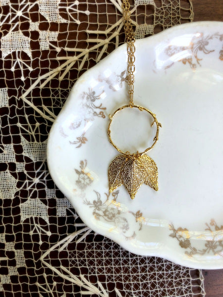 Mother's Day Necklace - Long Gold Leaves and Branch Necklace