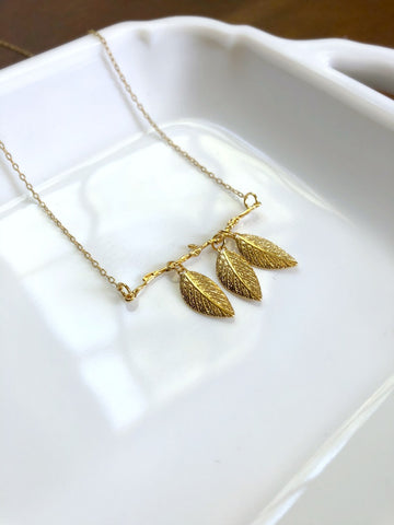 Mother's Day Necklace - Dainty Gold Leaves and Branch Necklace