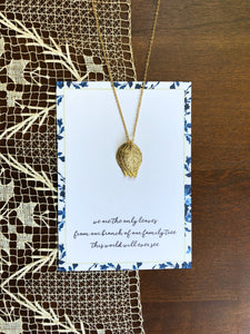 Gold Leaves Customized Sister Necklace