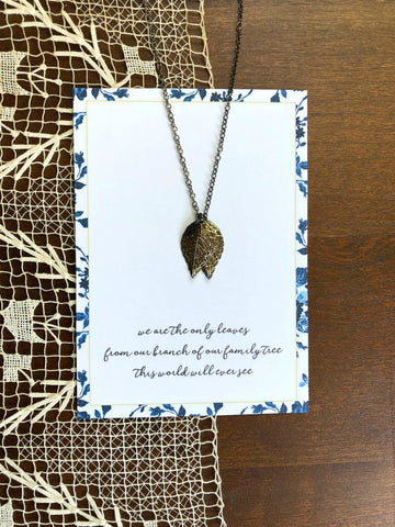 Gunmetal Leaves Customized Sister Necklace