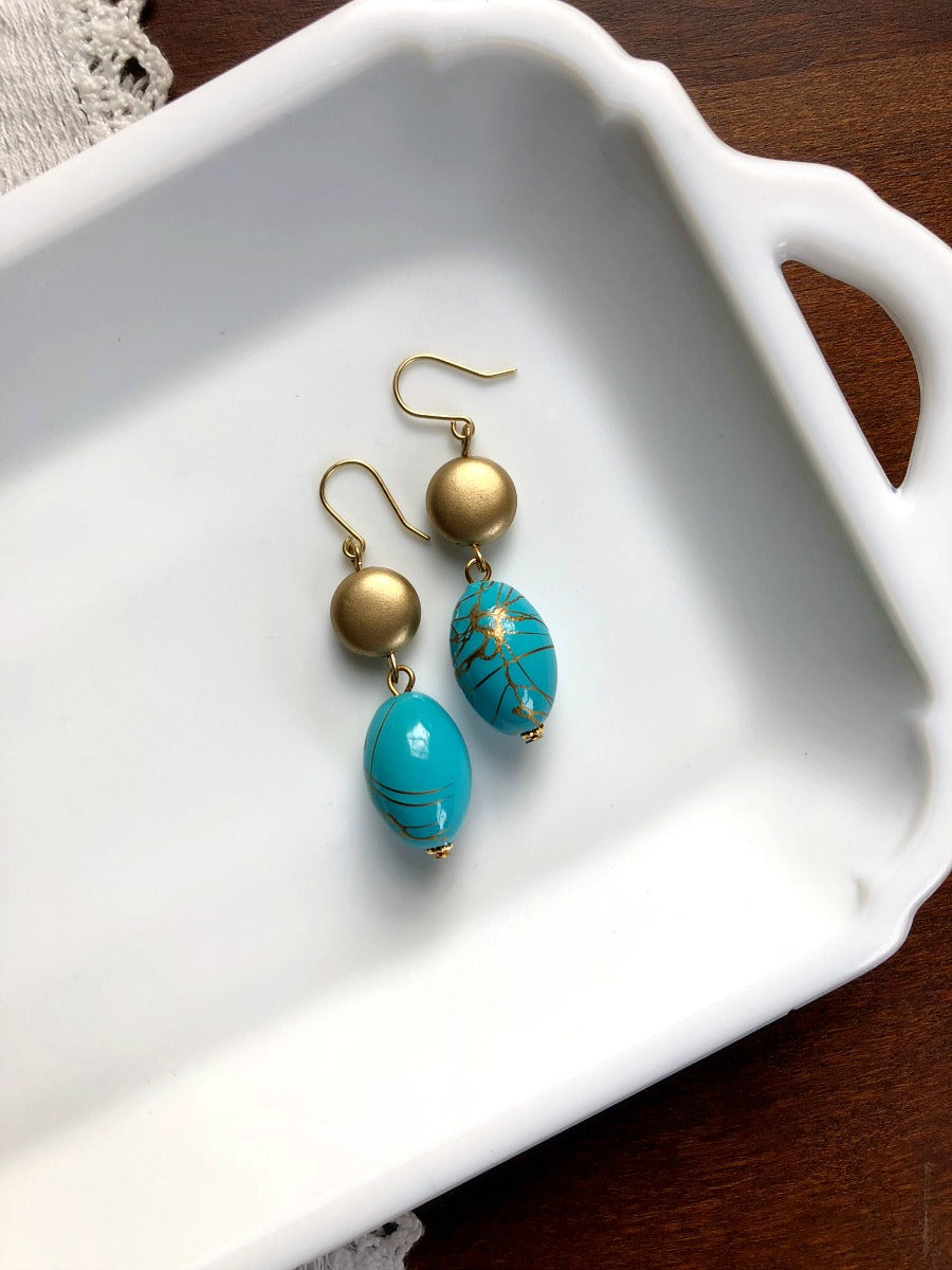 I AM WHOLE Turquoise Blue and Gold Drop Earrings