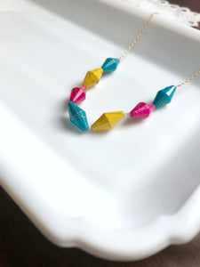 I AM WHOLE Blue Pink Yellow Beaded Necklace