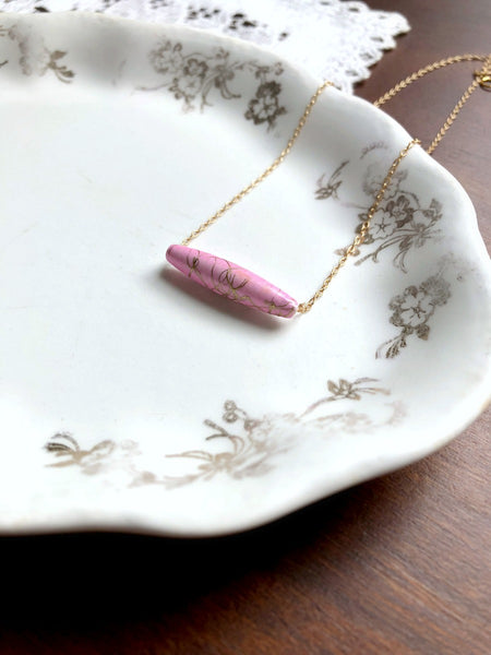 I AM WHOLE Light Pink Bar Necklace
