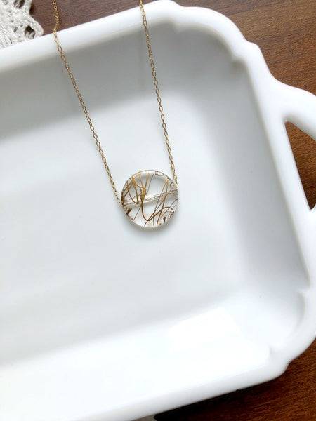I AM WHOLE Clear Round Disc Necklace