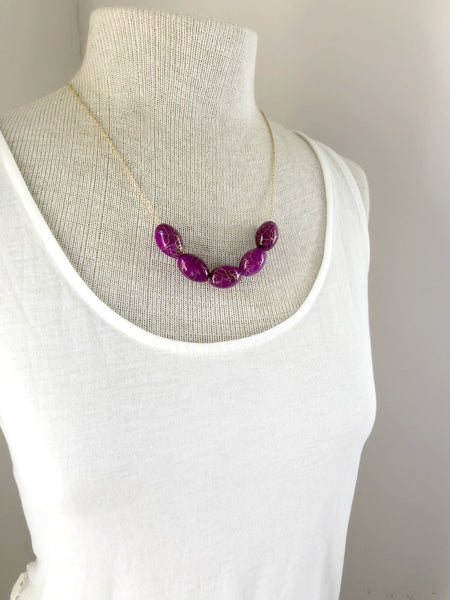 I AM WHOLE Magenta Beaded Statement Necklace