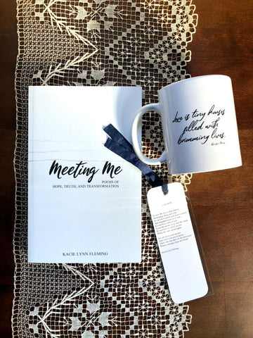 "BOOK, MUG, BOOKMARK SET | Meeting Me, ""Love Is"" Mug, and ""Anchor"" Bookmark"