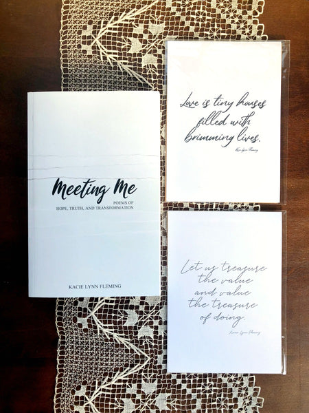"BOOK AND PRINTS SET | Meeting Me, ""Love Is,"" and ""Value of Doing"" 5x7"" Prints"