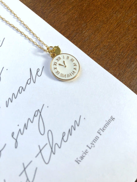 LISTEN Clock Necklace & Poem