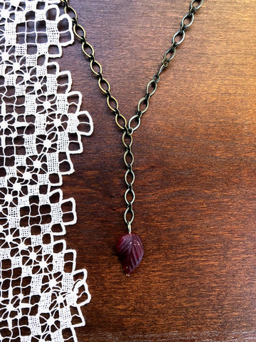 Red Leaf Bronze Y Necklace