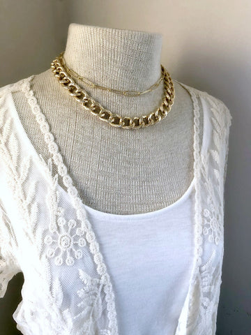 Gold Layered Chain Necklace - Double Strand