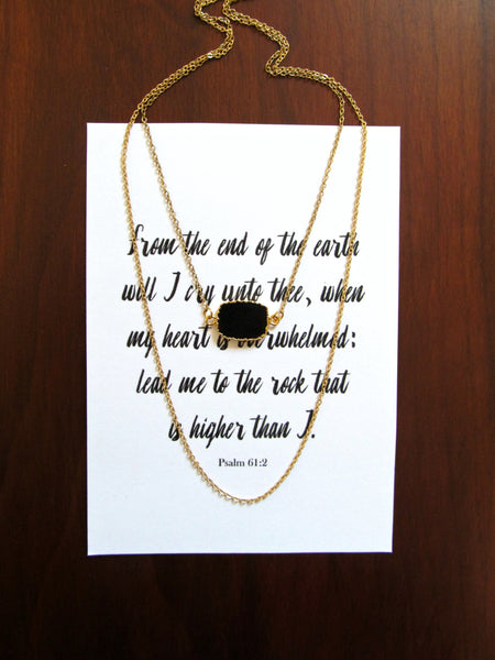 Psalm 61:2 Rock That Is Higher Than I Necklace & Print