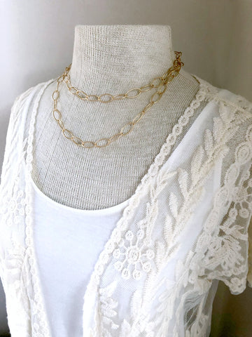 Gold Oval Chain Necklace - Double Strand