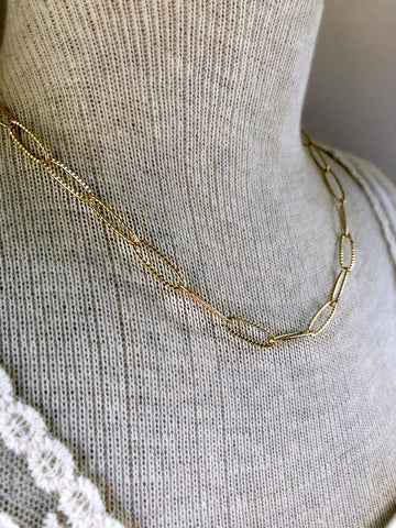 Gold Link Chain Necklace - Single Strand