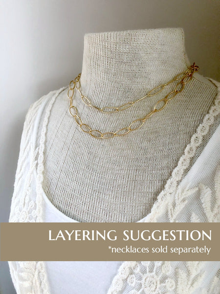 Gold Oval Chain Necklace - Single Strand