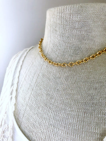 Gold Twisted Chain Necklace - Single Strand