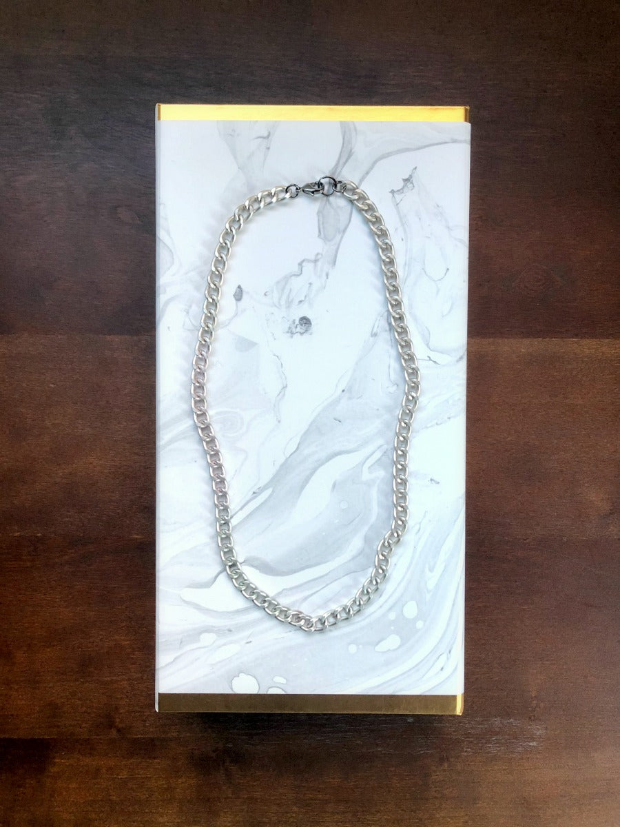 Silver Chunky Chain Necklace - Single Strand