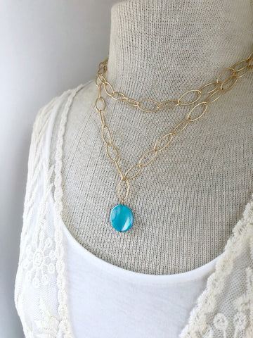 Gold Oval Chain Blue Shell Necklace - Double Strand