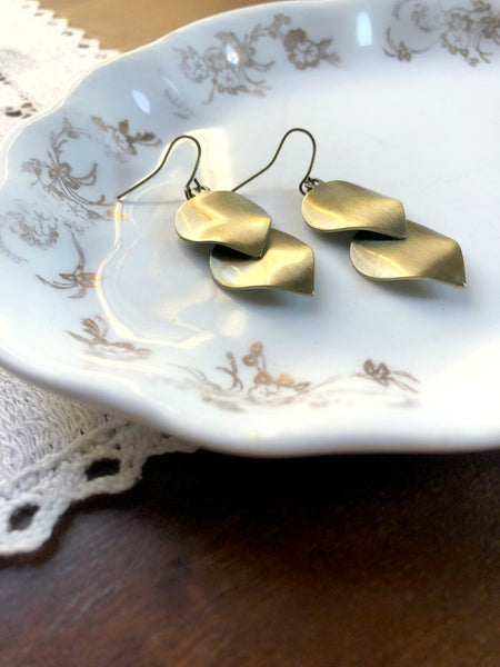 Gold and Bronze Double Leaf Earrings