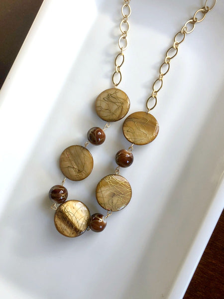 I AM WHOLE Amber, Brown, and Gold Statement Necklace