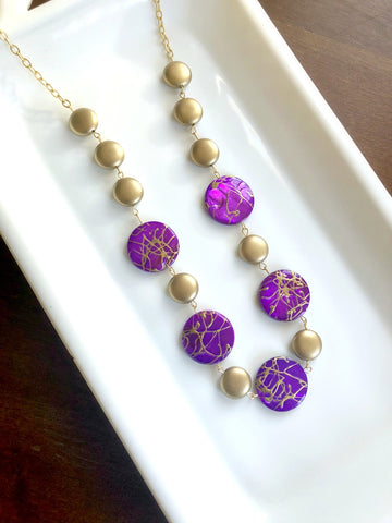 I AM WHOLE Purple and Gold Statement Necklace