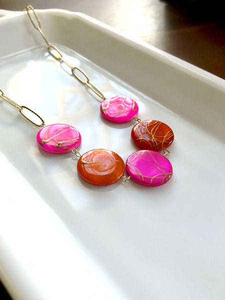 I AM WHOLE Hot Pink, Orange, and Gold Statement Necklace