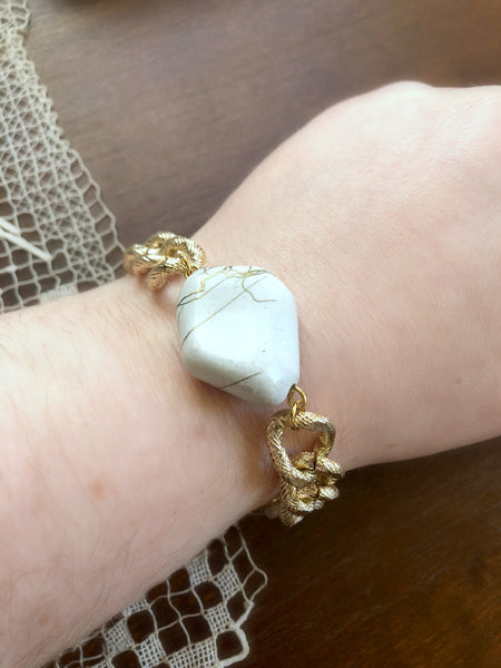 I AM WHOLE Ivory Chunky Gold Chain Bracelet