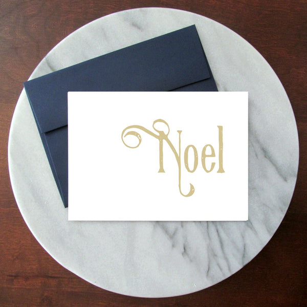Noel Vintage Gold - Blank Inside Christmas Card