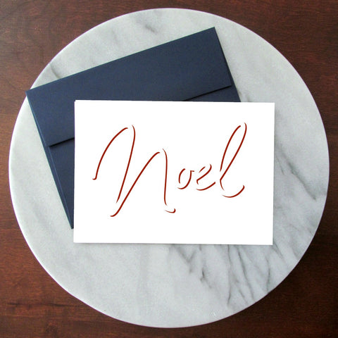 Noel Vintage Red - Blank Inside Christmas Card