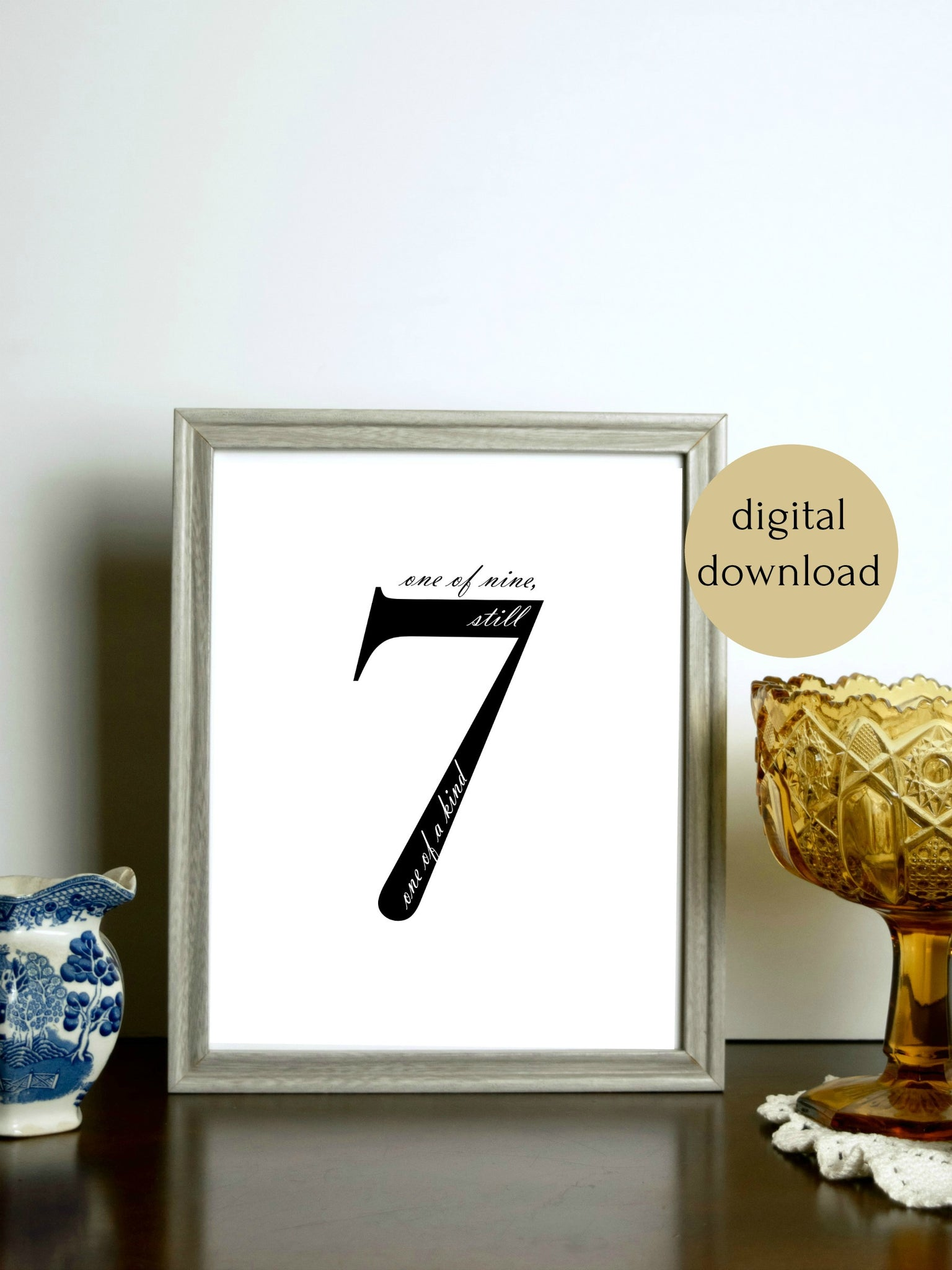 "Enneagram 7 Black and White Digital Printable | 5x7"" and 8x10"""