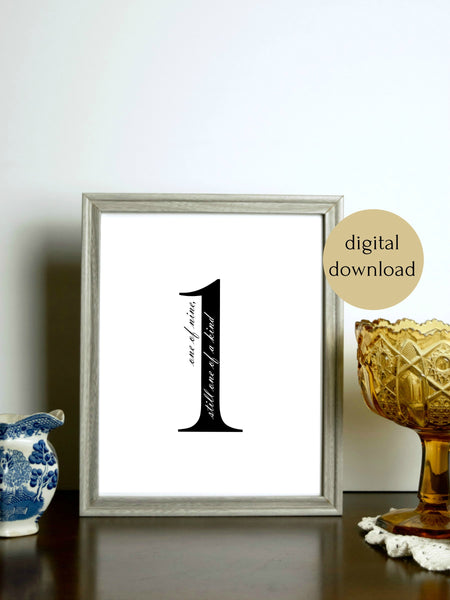 "Enneagram 1 Black and White Digital Printable | 5x7"" and 8x10"""