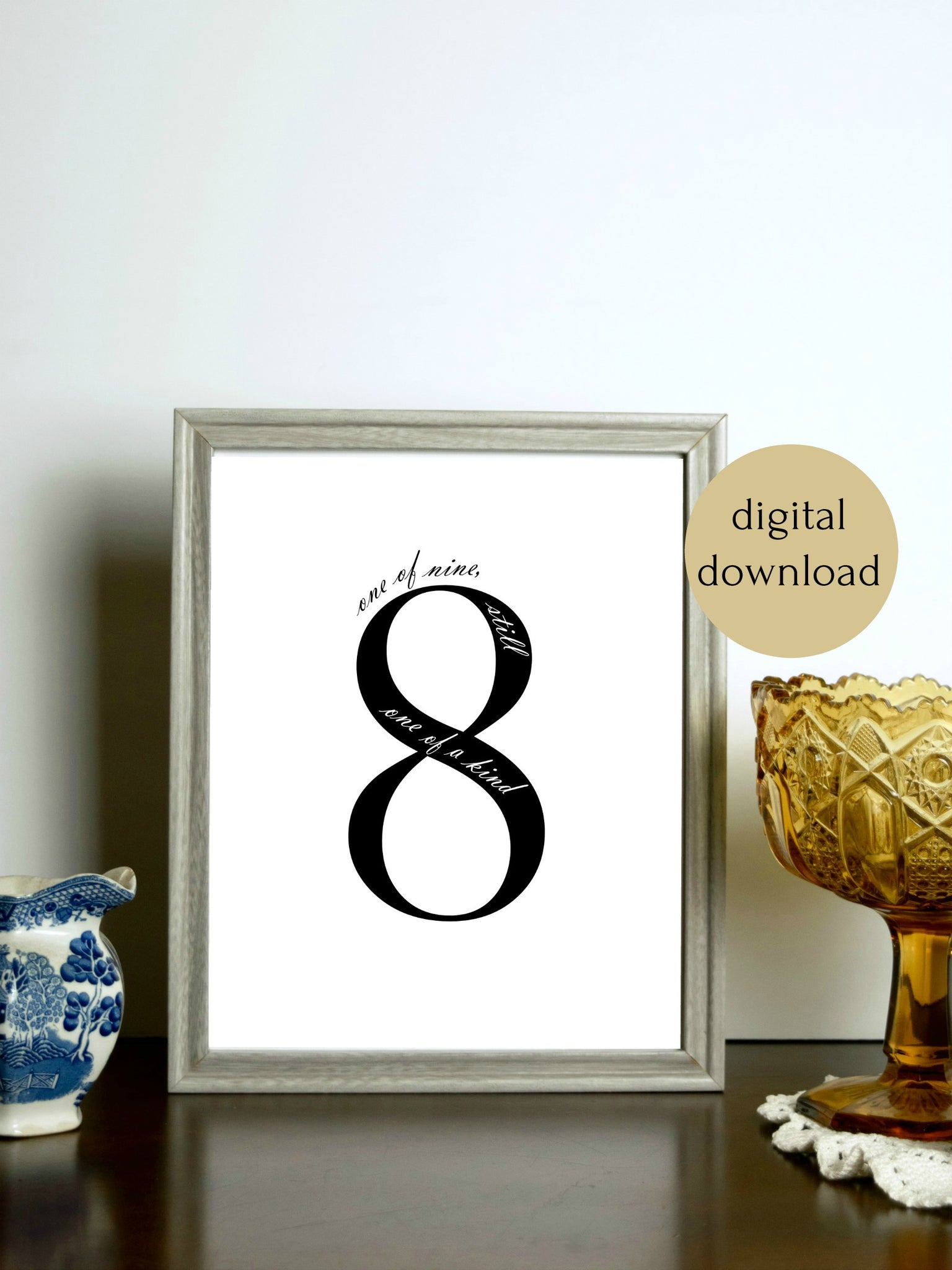 "Enneagram 8 Black and White Digital Printable | 5x7"" and 8x10"""