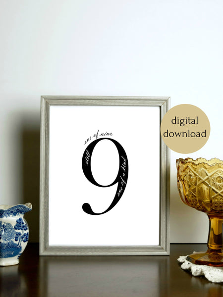 "Enneagram 9 Black and White Digital Printable | 5x7"" and 8x10"""