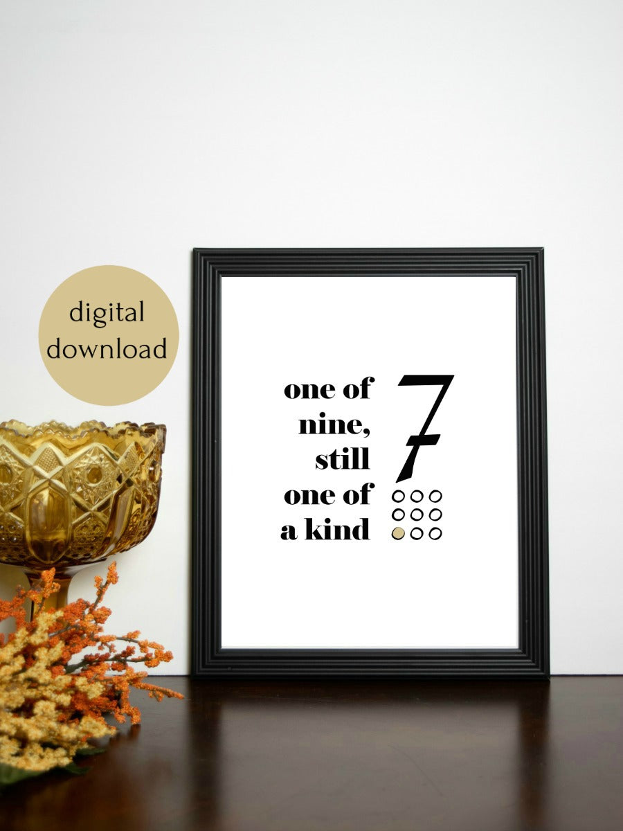 "Enneagram 7 Retro Quote Digital Printable | 5x7"" and 8x10"""
